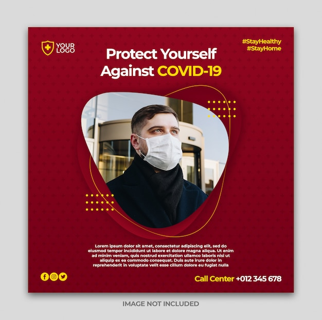Coronavirus warning social media instagram banner post template or square flyer