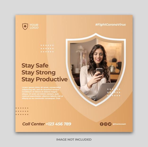 Coronavirus warning social media instagram banner post template or square flyer