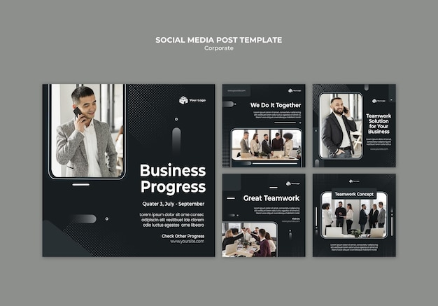 Corporate ad social media post template