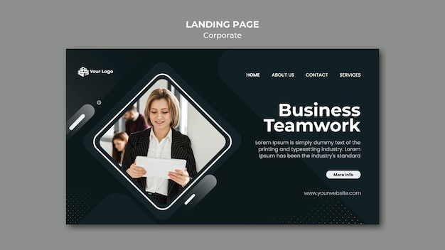 Corporate ad template landing page