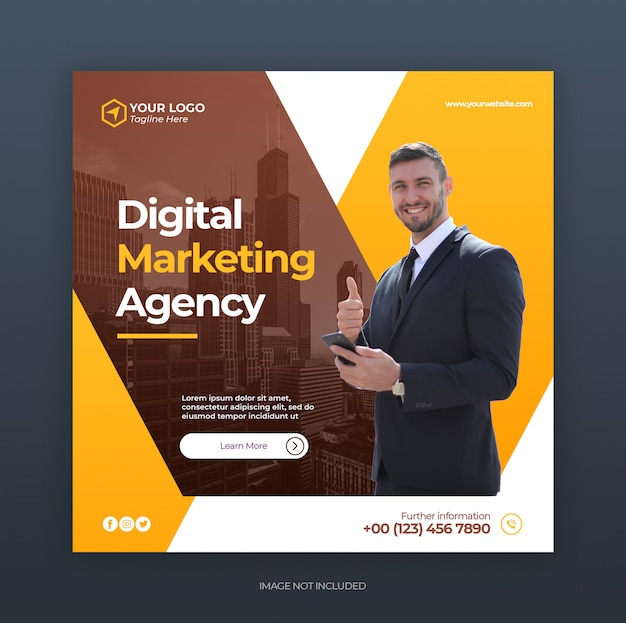 Корпоративный и креативный цифровой бизнес маркетинг продвижение instagram шаблон