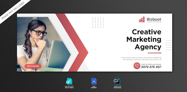 기업 및 디지털 비즈니스 마케팅 홍보 페이스 북 커버 템플릿