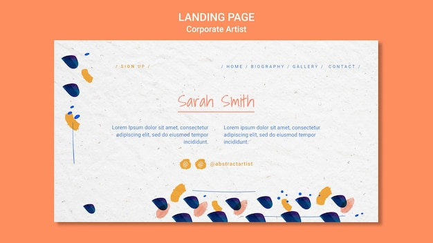 Corporate artist concept landing page template
