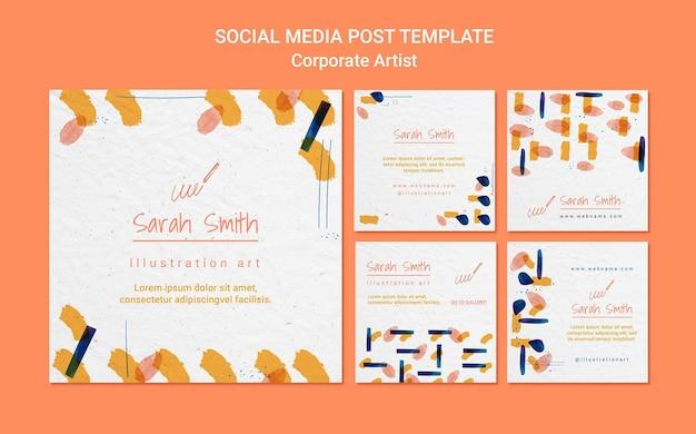 Corporate artist concept social media post template