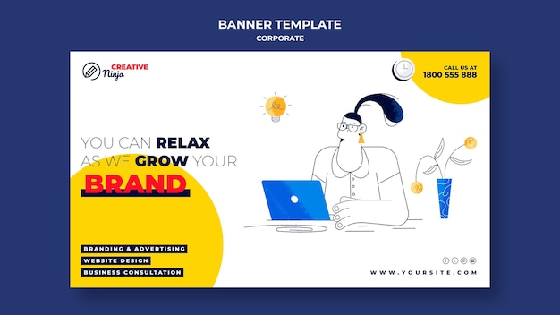 Corporate banner template illustrated