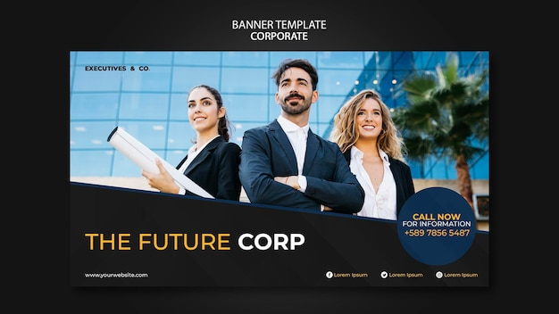 Corporate banner template with photo