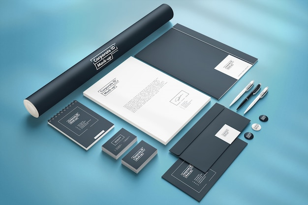 Corporate branding identity mock-up set