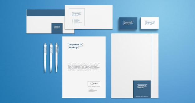 Corporate branding identity stationery set mock-up for