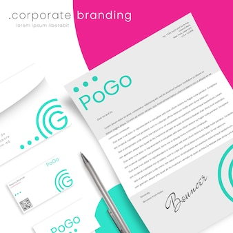 Corporate branding mockup with letter, envelope and business cards