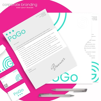 Corporate branding mockup with letter, envelope, folder and business cards
