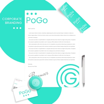 Corporate branding mockup with paperweight, letter and business cards