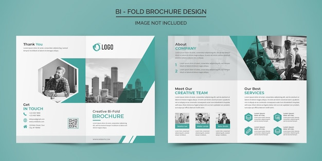 Corporate business bifold brochure design template