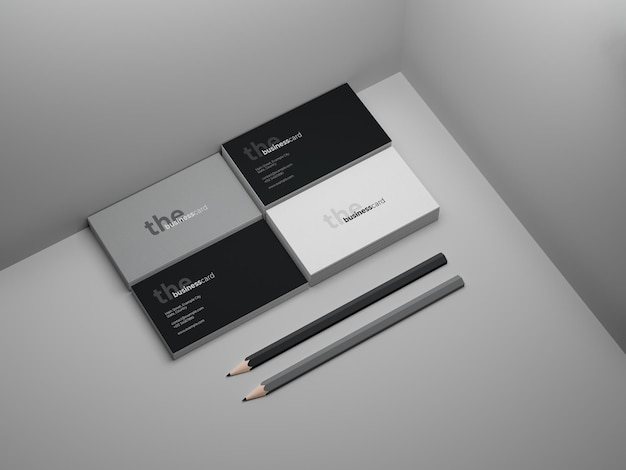 Corporate business card mockup with two pencils