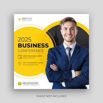 企業ビジネス会議の正方形のチラシソーシャルメディアの投稿とwebバナー