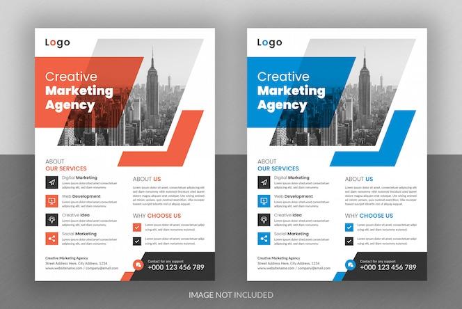 기업 비즈니스 디지털 마케팅 대행사 전단지 디자인 및 브로셔 커버 템플릿