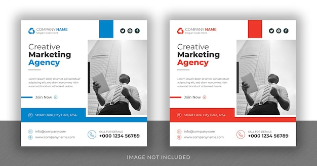Corporate business instagram post social media web banner and square flyer design template