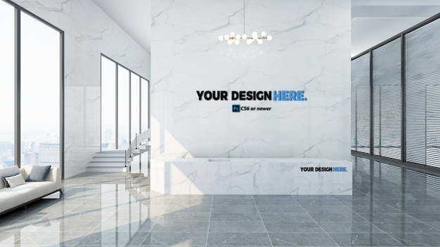 Corporate business office front desk mockup