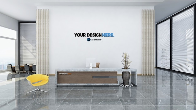 Corporate business office front desk mockup