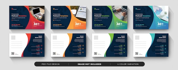 Corporate business postcard dark and clean