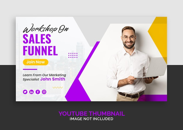 Youtubeのサムネイルまたはwebバナーテンプレートをマーケティングするための企業ビジネスウェビナー