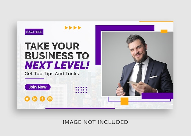 Corporate business webinar youtube thumbnail or web banner template