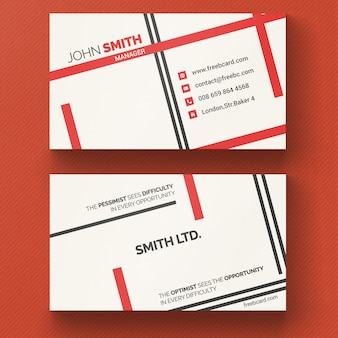 Corporate card with red lines