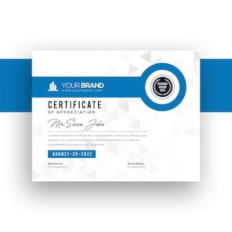 Корпоративная компания градиент современный шаблон сертификата синий