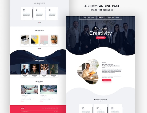 Corporate and creative design agency landing page banner