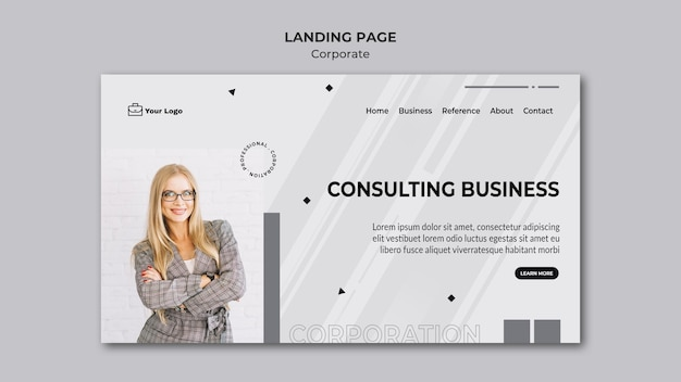 Corporate design landing page template