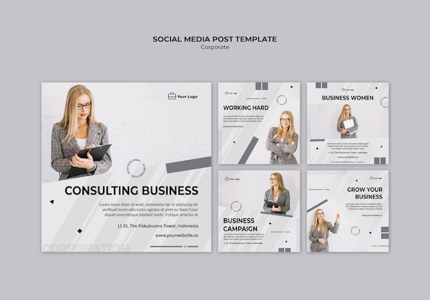 Corporate design social media post template
