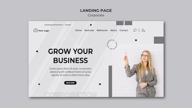 Corporate design template landing page
