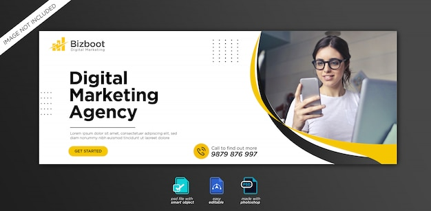 Corporate and digital business marketing promotion facebook cover template