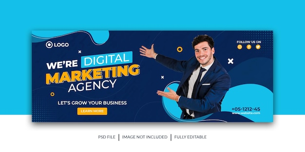 Corporate and digital business marketing promotion facebook and social media cover template premium