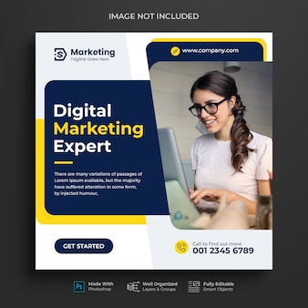 Corporate and digital business marketing promotion instagram post design or social media banner