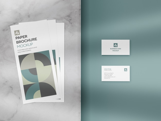 Corporate flyer and business card mockup