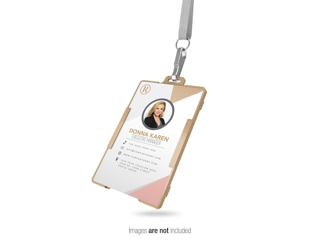 Corporate id card with stripe perspective view  mockup