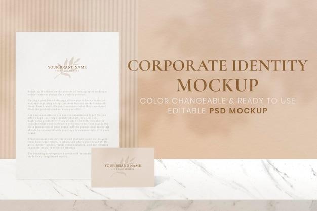 Макет фирменного стиля, эстетические канцелярские товары, реалистичное изображение в формате psd