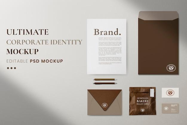Макет фирменного стиля, профессиональные канцелярские товары, реалистичное изображение в формате psd