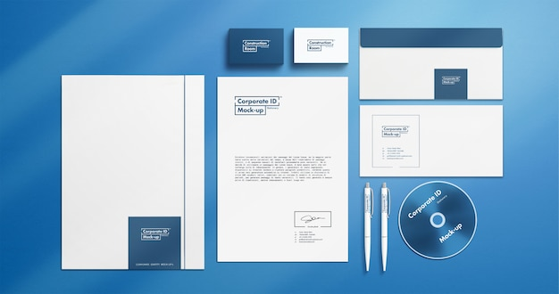Corporate identity stationery mock-up set with movable objects 4k resolution