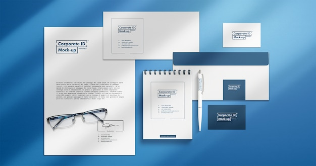 Corporate identity stationery mock-up set with separated elements