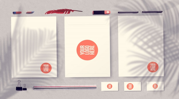 Corporate identity stationery mockup isolated on gray