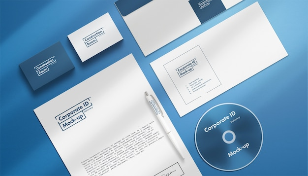Corporate identity stationery set mock-up close-up view
