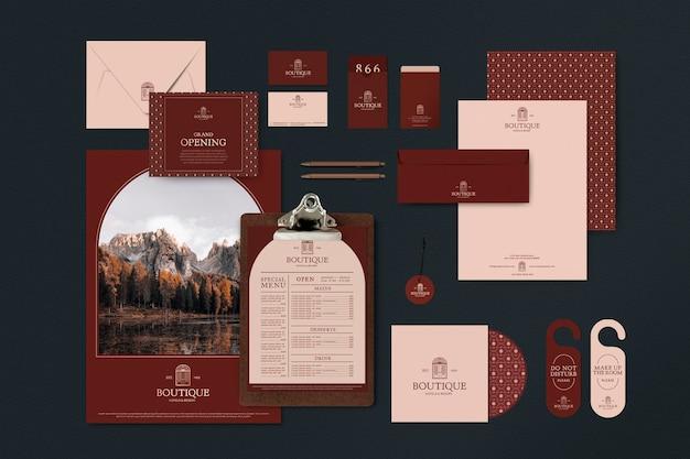 Корпоративный стиль, макеты и шаблоны psd для индустрии путешествий и туризма в приглушенных красных тонах Бесплатные Psd