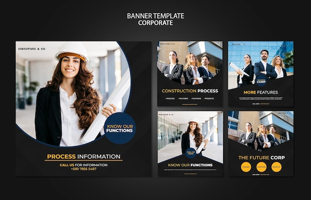 Corporate instagram posts template with photo