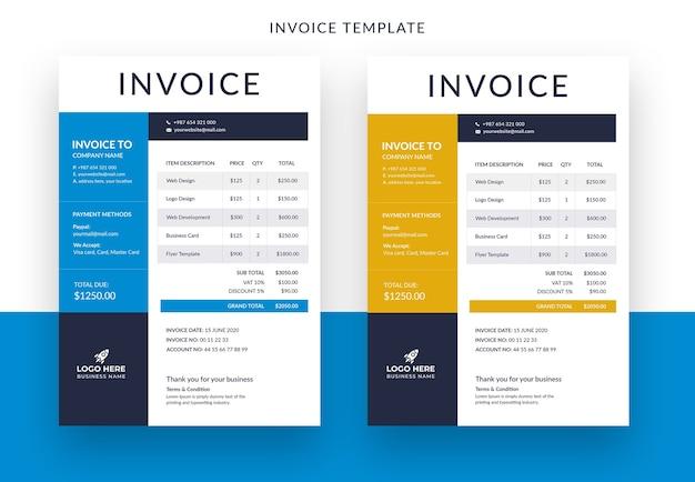 Corporate invoice template design design