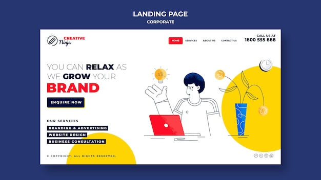 Corporate landing page template