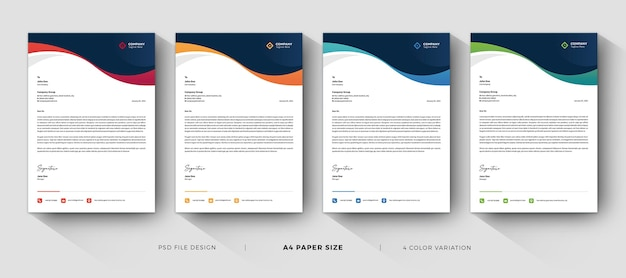 Corporate letterhead templates professional design with color variation