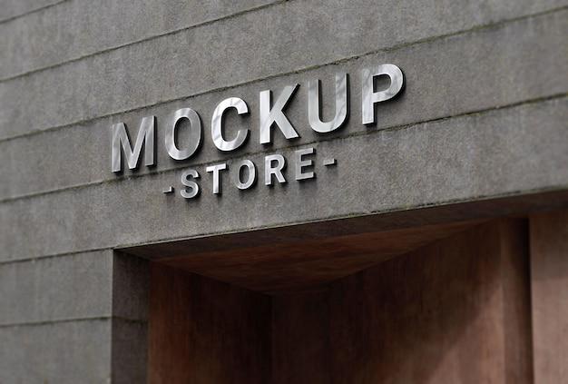 콘크리트 외관에 기업 로고 모형