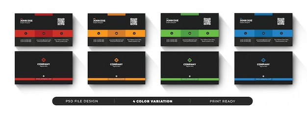 Corporate minimal dark business card with color variation set