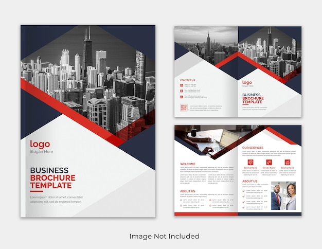 Corporate modern red and black bifold brochure template design with creative shape